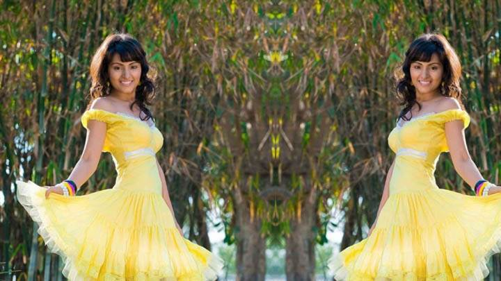 Sapan Saran In Yellow Dress Posing In Park