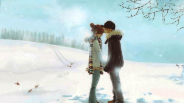 2D Couples Standing On Snow