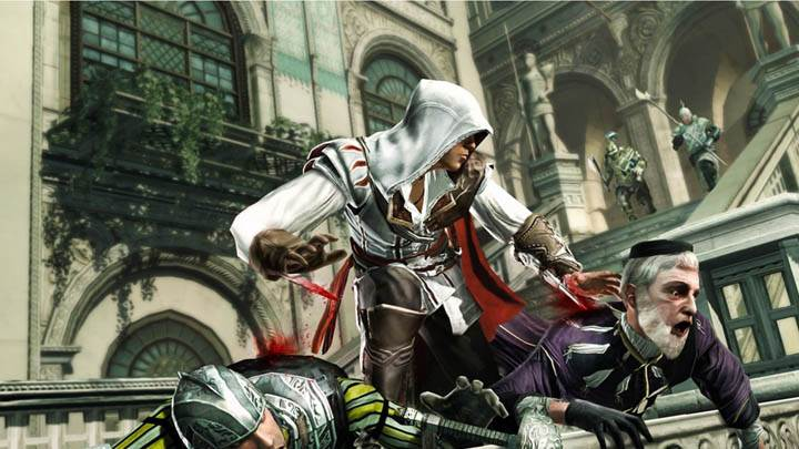 Ezio Is Killing A Guy With His Hand Blades