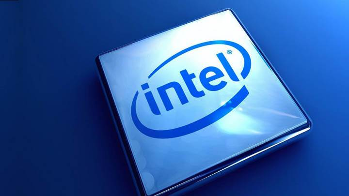 Intel Company Logo On Blue Background