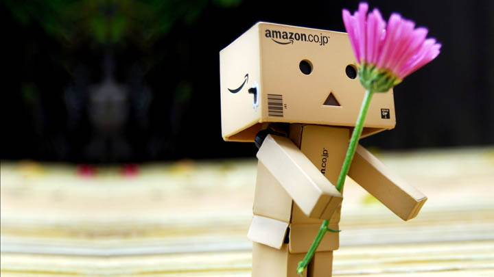 Plastic Amazon Box Giving Pink Flower On Valentines Day