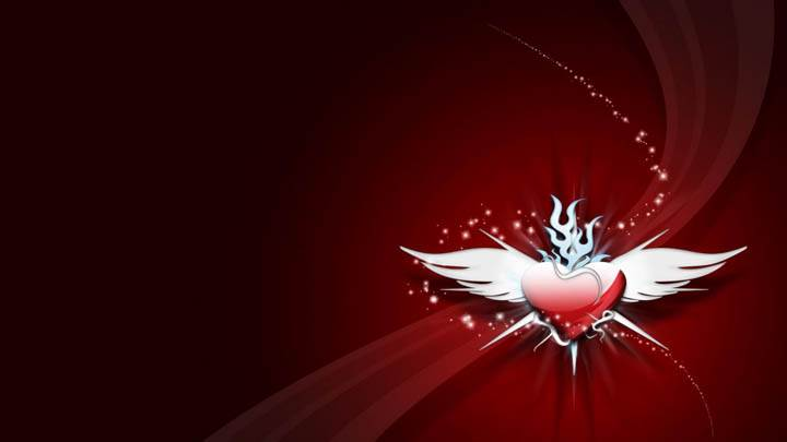 Red Heart With White Wings Cool Red Wallpaper