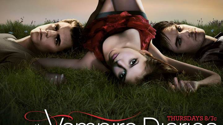 The Vampire Diaries Stefan, Elena And Damon Laying On Grass