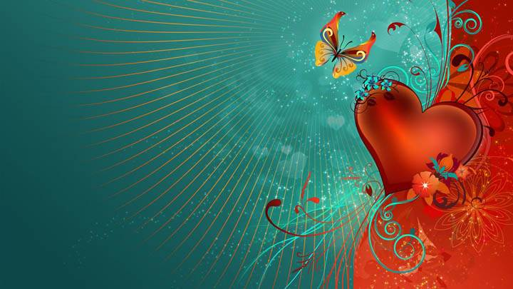 Valentines Day Artistic Wallpaper Red Heart And Butterfly