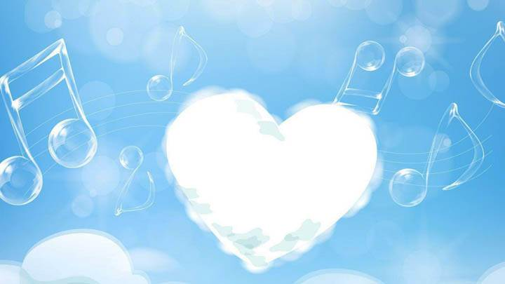 White Cloud Heart And Music Strings In Sky