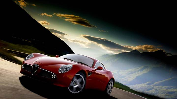 Alfa Romeo 8c In Red Nice Side Pose Evening