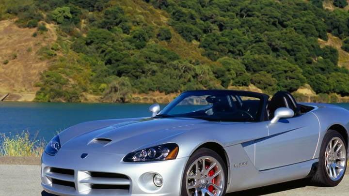 Dodge Viper Convertible in Silver Color Near River