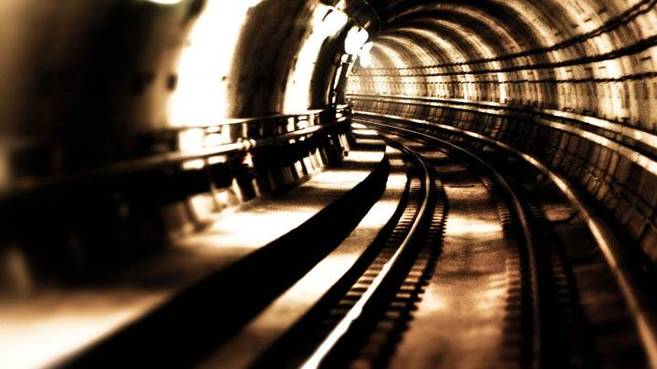 Metro Train Tunnel Sepia Color