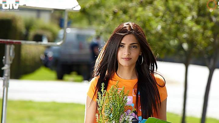 Sonam Kapoor in Orange Top I Hate Luv Story Movie