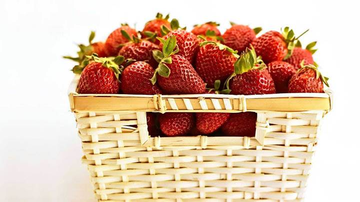 Strawberries In Wooden Bucket
