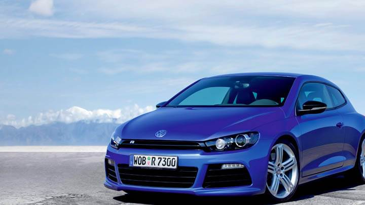 Volkswagen Scirocco R Blue Car Side Front Pose