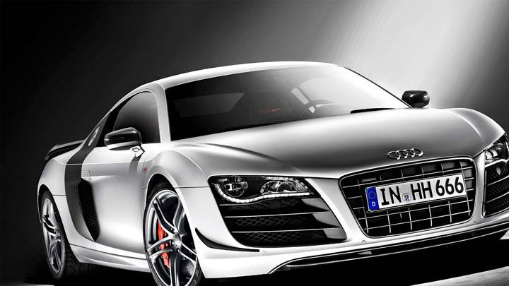 Audi 2010 R8 GT Silver Color Front Closeup