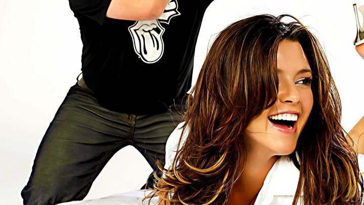 Cute Alicia Machado Laying On Bed and Laughing