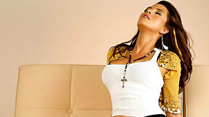 Alicia Machado On Sofa In White Top