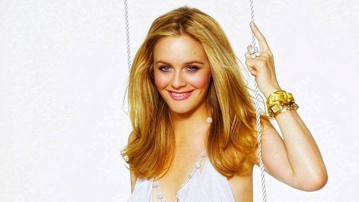 Alicia Silverstone Standing Smiling At Camera White Dress