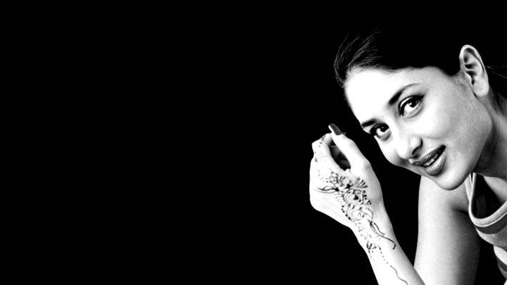 Cute Kareena Kapoor Black And White Wallpaper