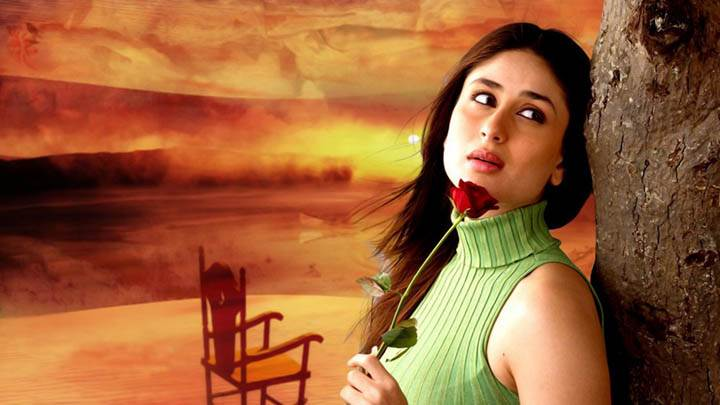 Kareena Kapoor In Green Top And Rose In Hand