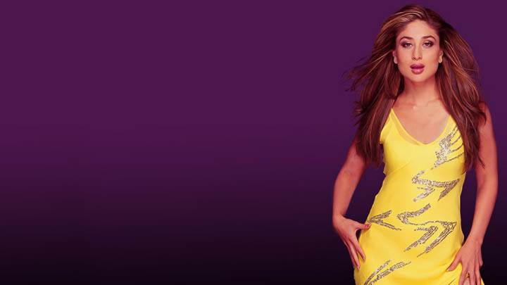 Kareena Kapoor In Yellow Dress N Purple Background