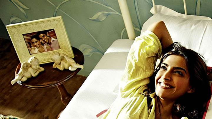 Sonam Kappor Laughing On Bed