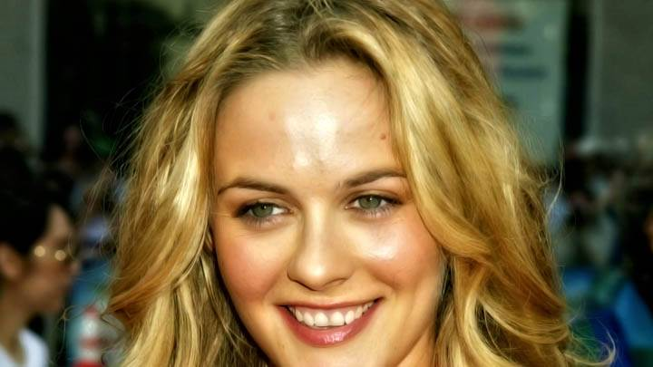 Alicia Silverstone Smiling Face Closeup N Golden Hairs