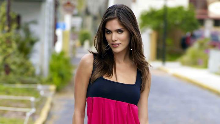 Anahi Gonzales Black N Red Dress On Street