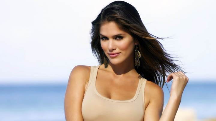 Anahi Gonzales in Cream color Swimsuit On Beach