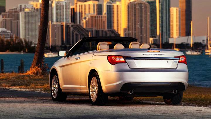 Back Pose of Silver Chrysler 200 Convertible