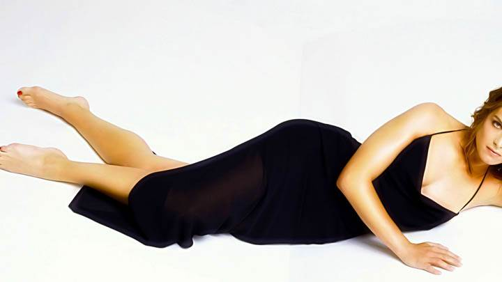 Brooke Shields Laying Photoshoot Black Dress