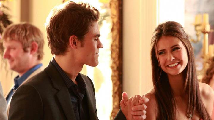 Elena Smiling with Stefan in Vampire Diaries