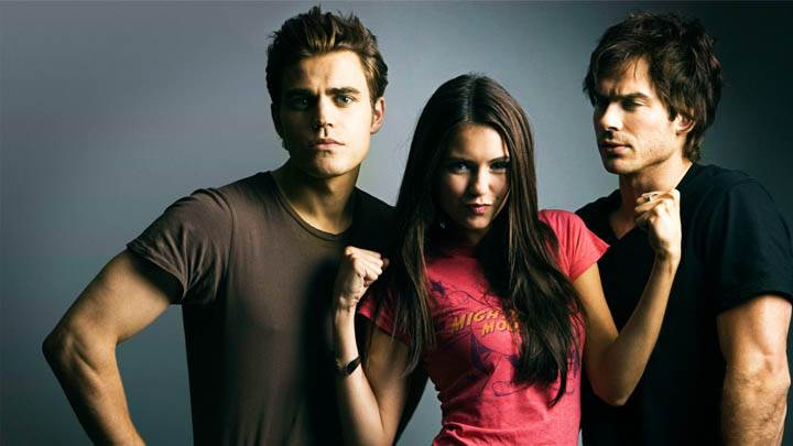 Elena in Pink Top With Stefan Damon