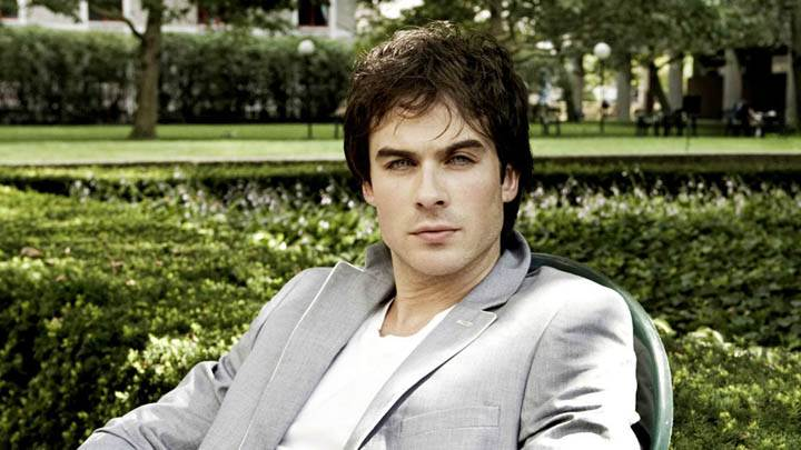 Ian Somerhalder Sitting In Garden Wearing Coat Pant