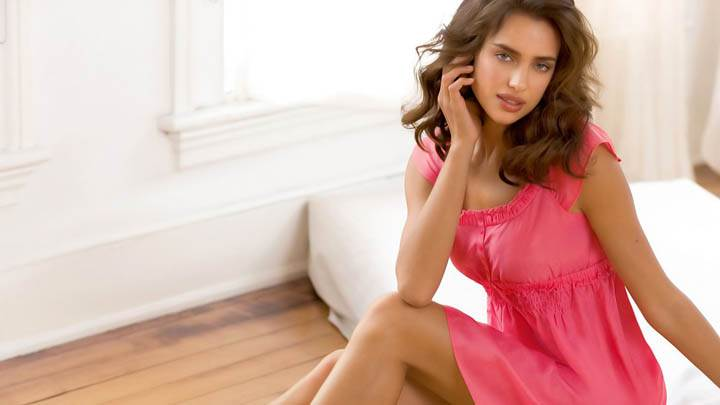 Irina Shayk Pink Night Dress Sitting