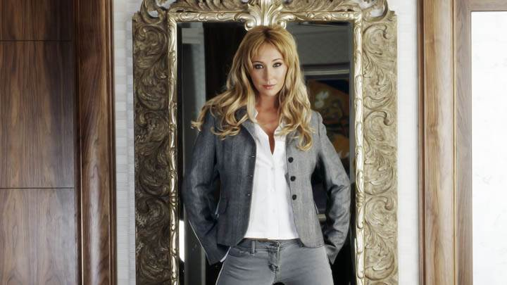 Jenny Frost White Shirt N Gray Pants Mirror