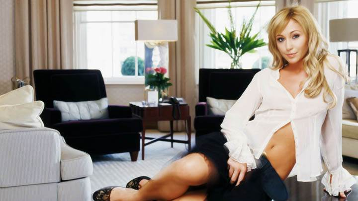 Jenny Frost White Top Black Skirt Smile
