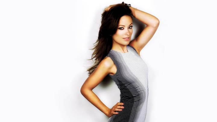 Olivia Wilde Black N White Strip Dress