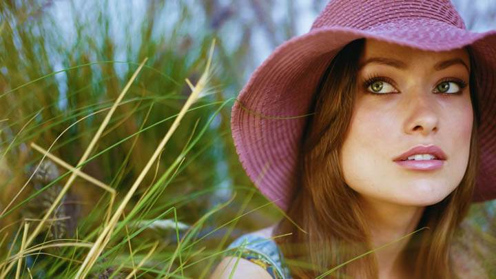 Olivia Wilde Pink Hat Smile At Camera