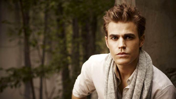 Paul Wesley in White T-shirt Face Closeup