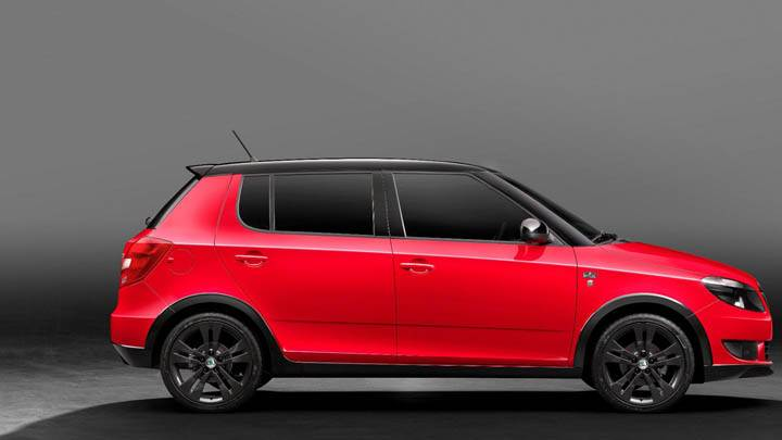 Red Color 2011 Skoda Fabia Monte Carlo Side Pose