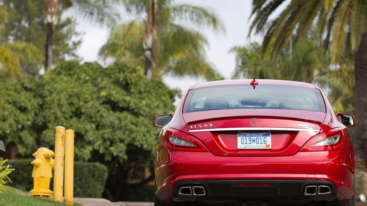 Red Mercedes-Benz CLS63 AMG 2012 Back
