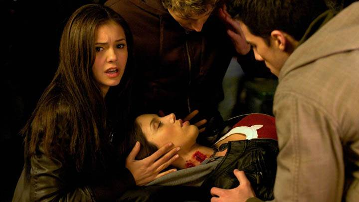 Scared Elena in Vampire Diaries