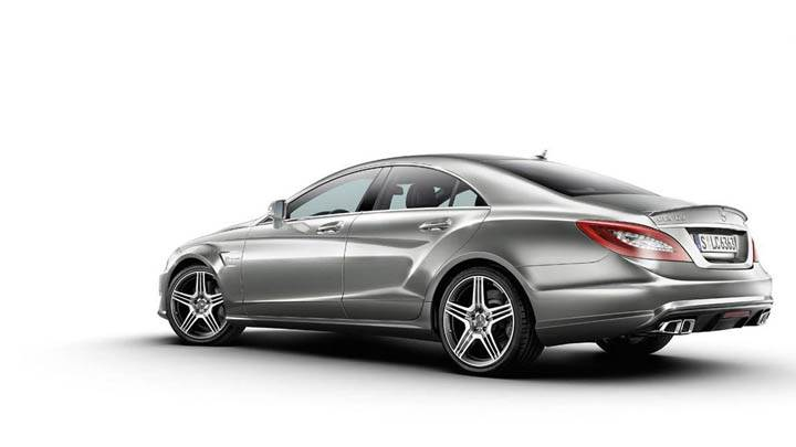 Silver 2012 Mercedes-Benz CLS63 AMG Back Pose