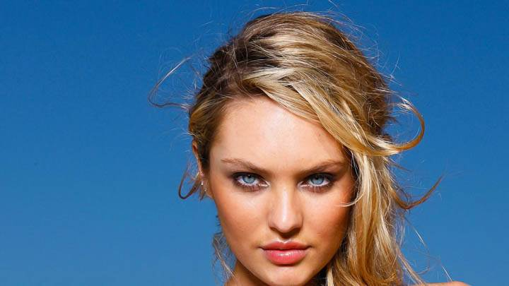 Candice Swanepoel Face Closeup Golden Hair