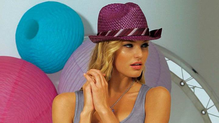 Candice Swanepoel Purple Hat Grey Top Photoshoot