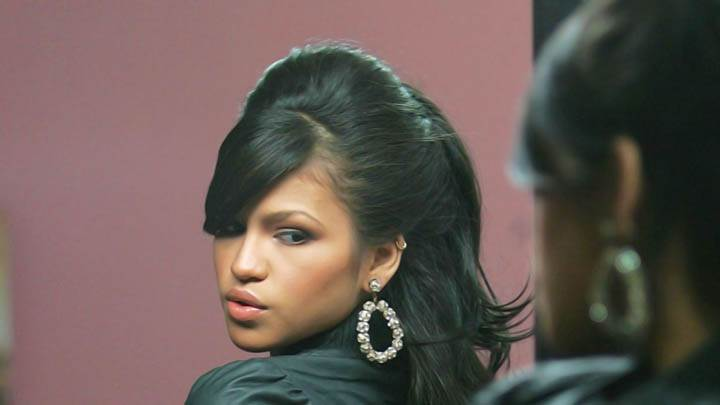 Cassie Ventura Back Side Pose Black Jacket