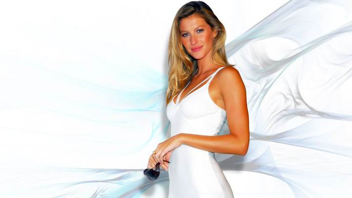 Gisele Bundchen White Dress With Sun Glasses