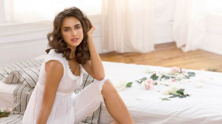 Irina Shayk Ready to Sleep in White Dress
