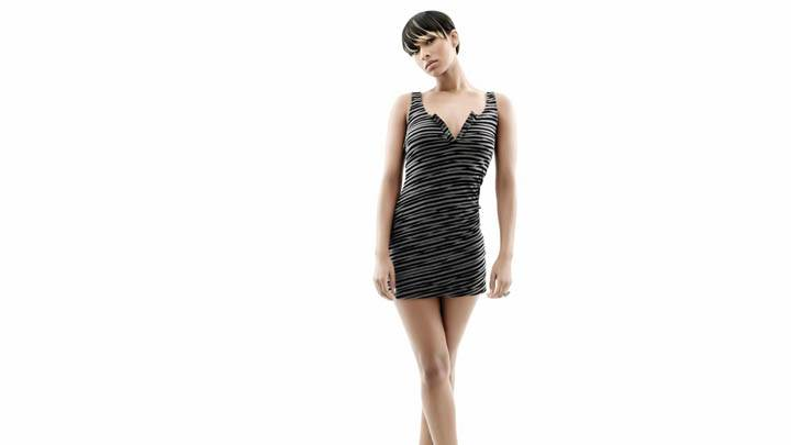 Keri Hilson Standing Black Stripe Dress