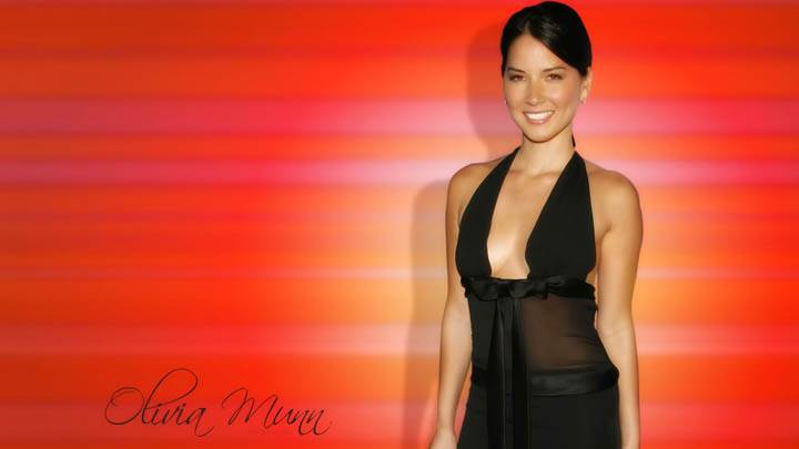 Olivia Munn Red Background Smile Black Dress