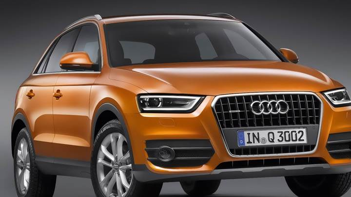 2012 Audi Q3 Front Pose in Orange Color