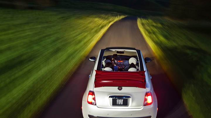 2012 Fiat 500 Cabrio Back Pose on Highway